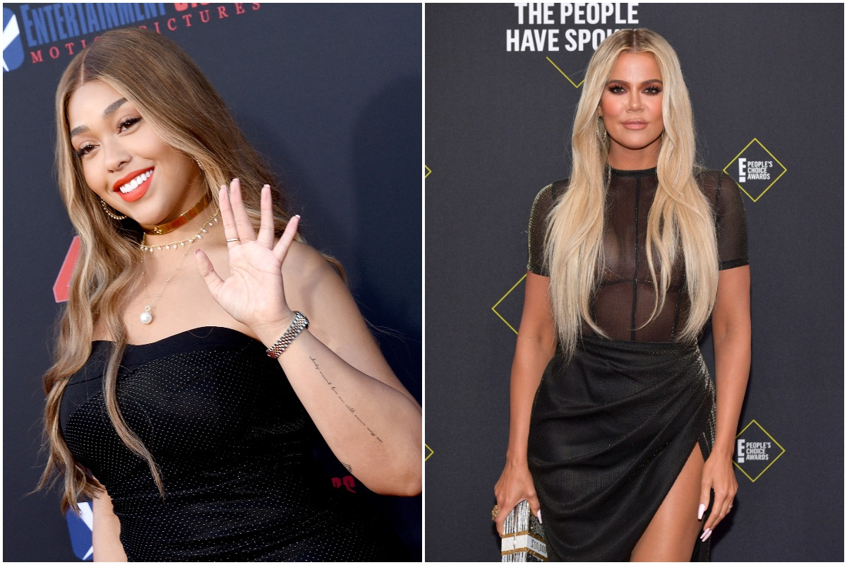 """WESTWOOD, CA - AUGUST 13: Jordyn Woods arrives at the LA Premiere Of Entertainment Studios' """"47 Meters Down Uncaged"""" at Regency Village Theatre on August 13, 2019 in Westwood, California/SANTA MONICA, CALIFORNIA - NOVEMBER 10: Khloé Kardashian attends the 2019 E! People's Choice Awards at Barker Hangar on November 10, 2019 in Santa Monica, California"""