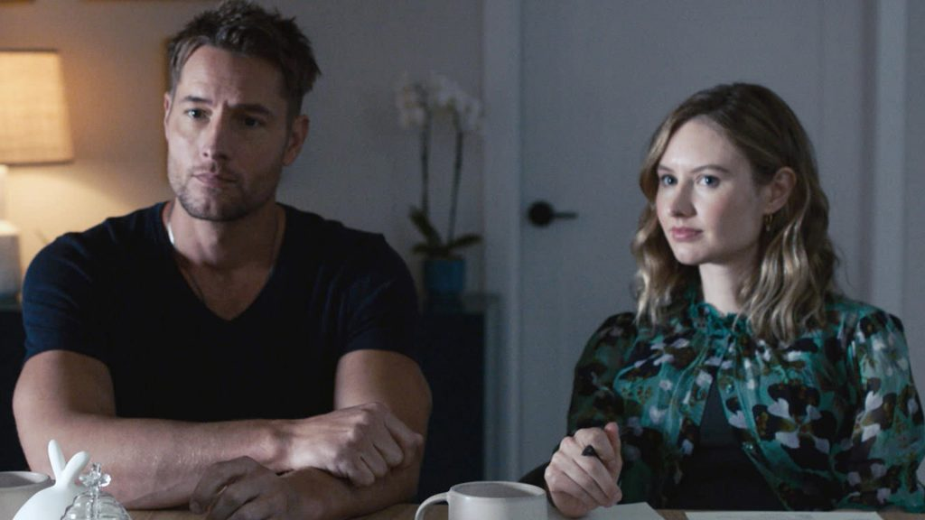 Justin Hartley as Kevin and Caitlin Thompson as Madison preparing for the birth of their twins, Nicholas and Frances, on 'This Is Us' Season 5