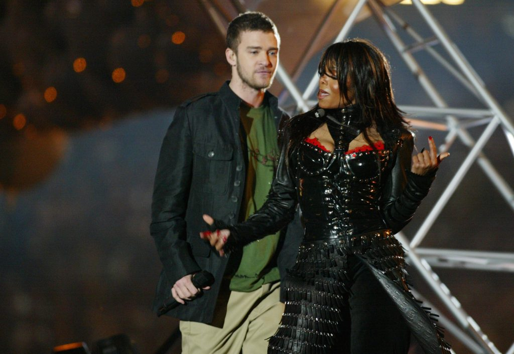 Justin Timberlake and Janet Jackson perform during the Super Bowl in 2004