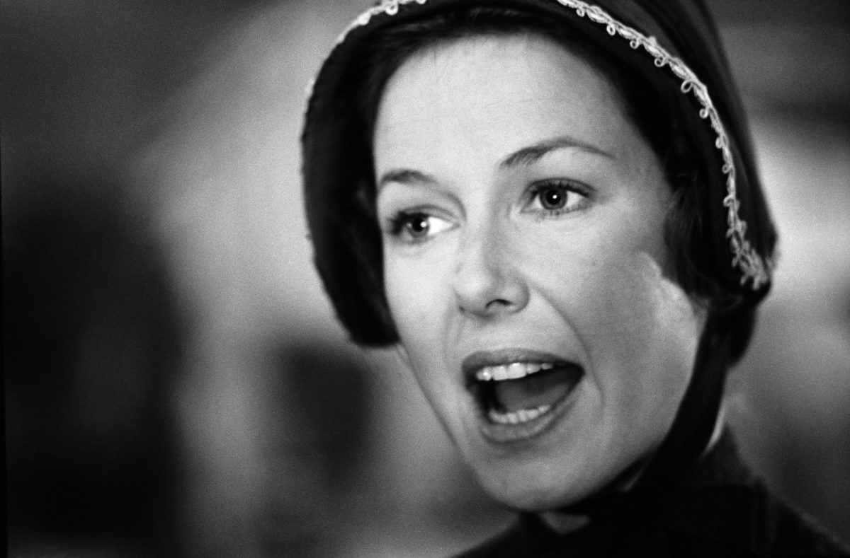 A black and white photo of Karen Grassle as Ma Ingalls on 'Little House on the Prairie'