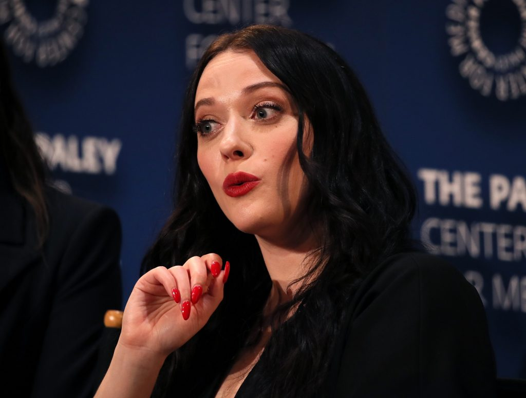 Kat Dennings speaking on stage at The Paley Center for Media's 2019 PaleyFest Fall TV Previews - Hulu