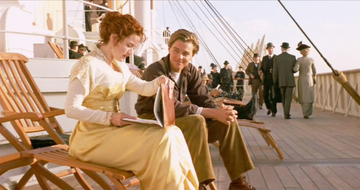 Kate Winslet and Leonardo DiCaprio on the deck of the Titanic