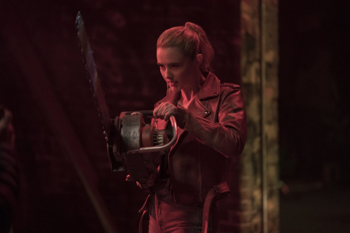 Kathryn Newton with a chainsaw in Freaky