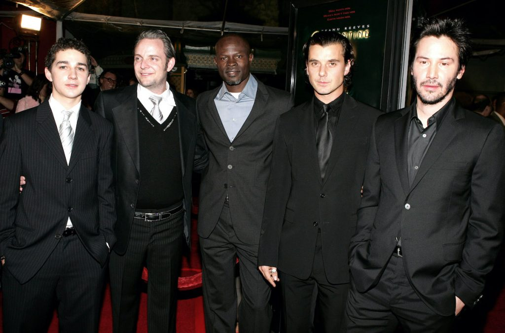 """Actor Shia LaBeouf, director Francis Lawrence and actors Djimon Hounsou, Gavin Rossdale and Keanu Reeves attend the premiere of the Warner Bros. film """"Constantine"""" in 2005"""