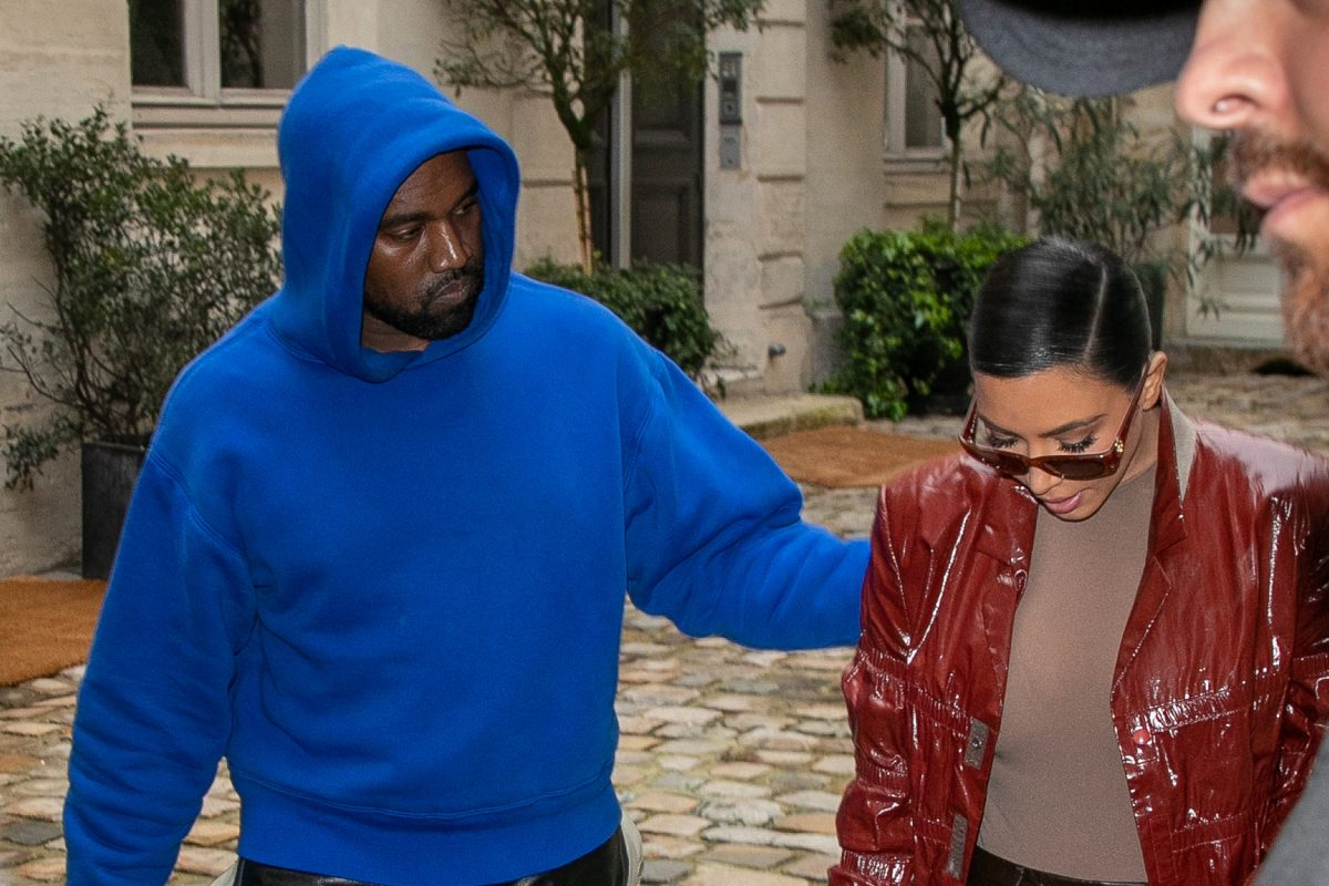 Kim Kardashian West and Kanye West in Paris on March 2, 2020