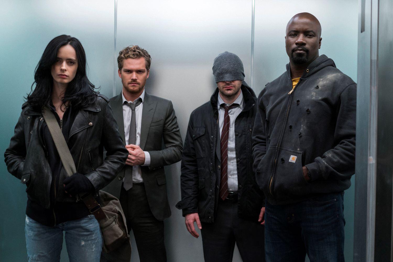 Krysten Ritter, Finn Jones, Charlie Cox, Mike Colter in Marvel's 'The Defenders'