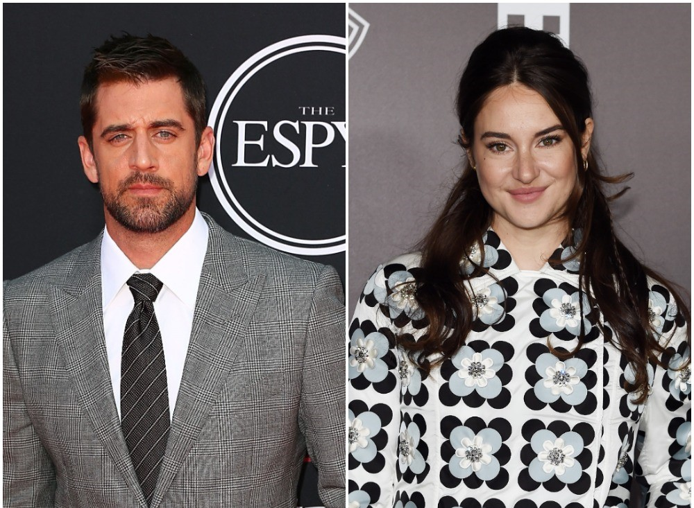 (L): Aaron Rodgers on red carpet at ESPYS, (R): Shailene Woodley at Mocler Fashion Show in Italy