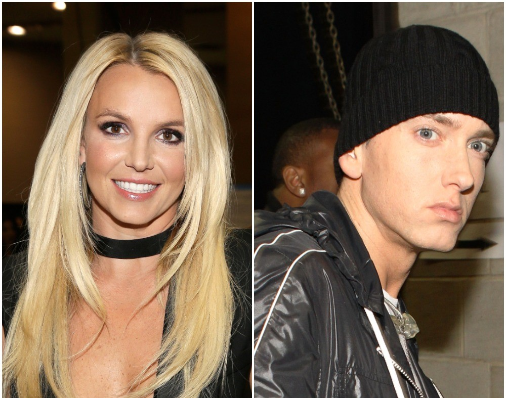 (L) Britney Spears at an iHeartRadio festival, (R) Eminem backstage at 52nd GRAMMY awards