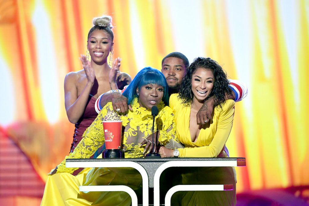(L-R) Bambi, Spice, Lil Scrappy and Karlie Redd accept the Best Reality Royalty award for Love & Hip Hop: Atlanta onstage during the 2019 MTV Movie and TV Awards at Barker Hangar on June 15, 2019 in Santa Monica, California | Kevin Winter/Getty Images for MTV