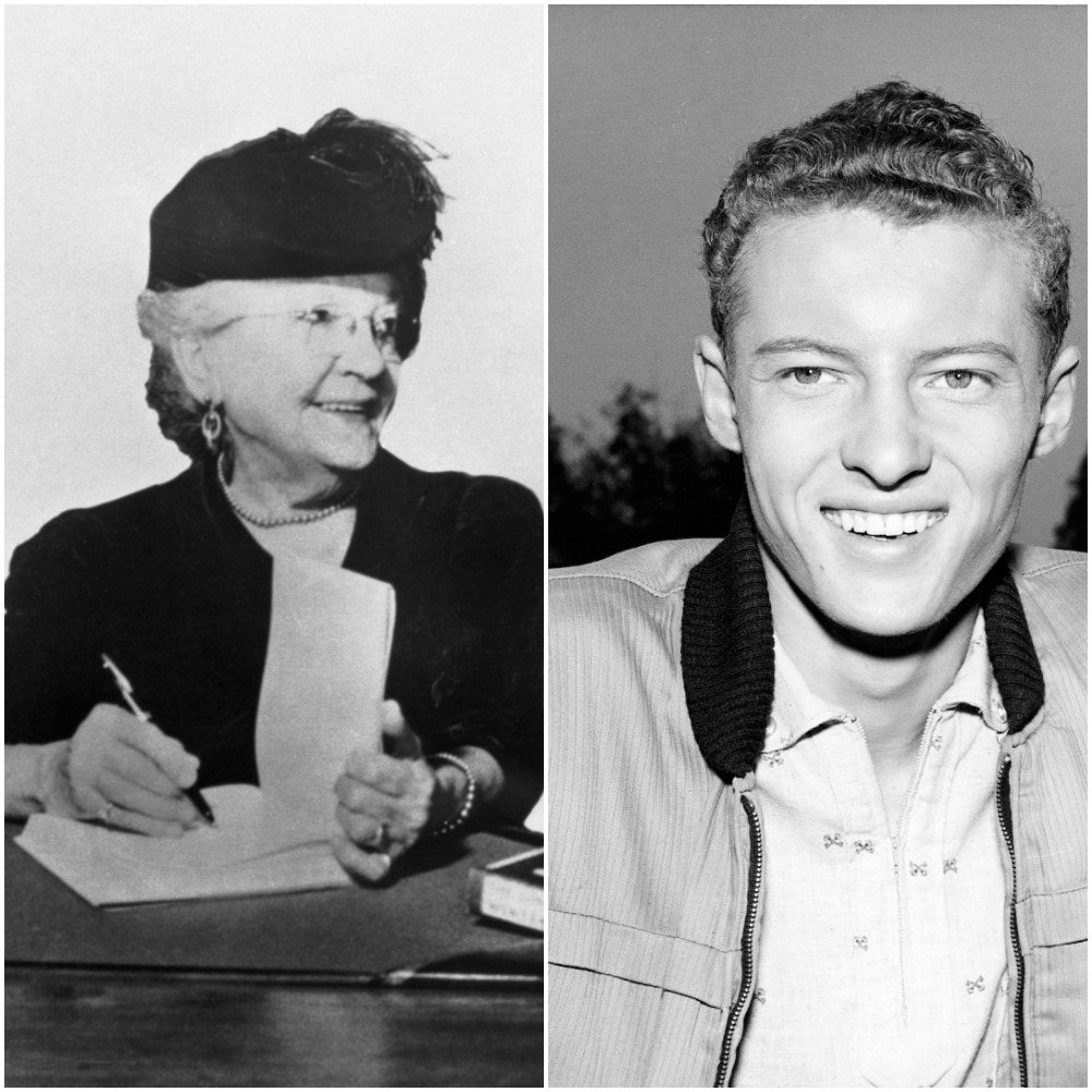 Laura Ingalls Wilder signs copies of her 'Little House on the Prairie' novels; Ken Osmond smiles as Eddie Haskell from 'Leave It to Beaver'