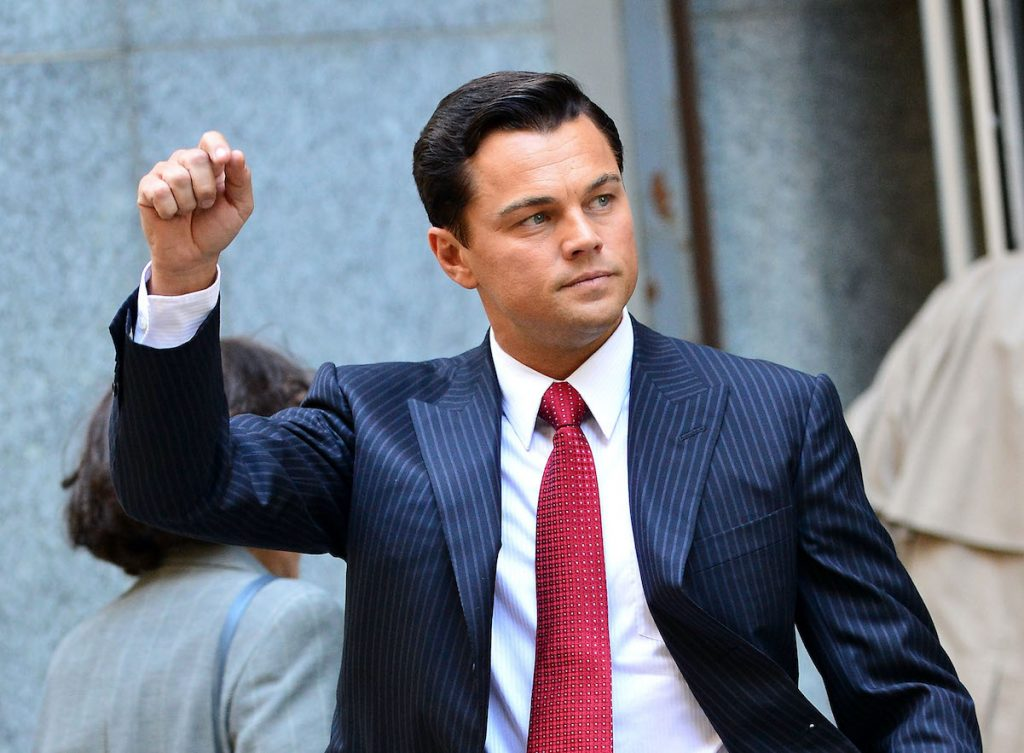 Leonardo DiCaprio on location filming 'The Wolf of Wall Street' in New York City in 2012.