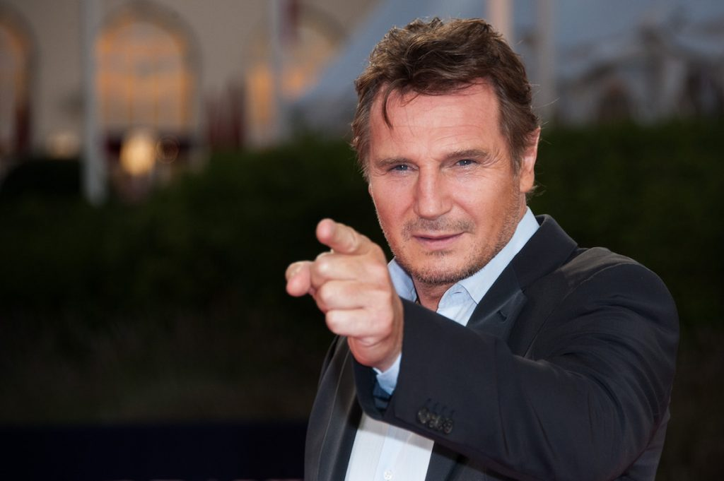 """Liam Neeson poses on the red carpet before the screening of his movie """"Taken 2"""" during the 38th Deauville American Film Festival on September 7, 2012 in Deauville, France."""