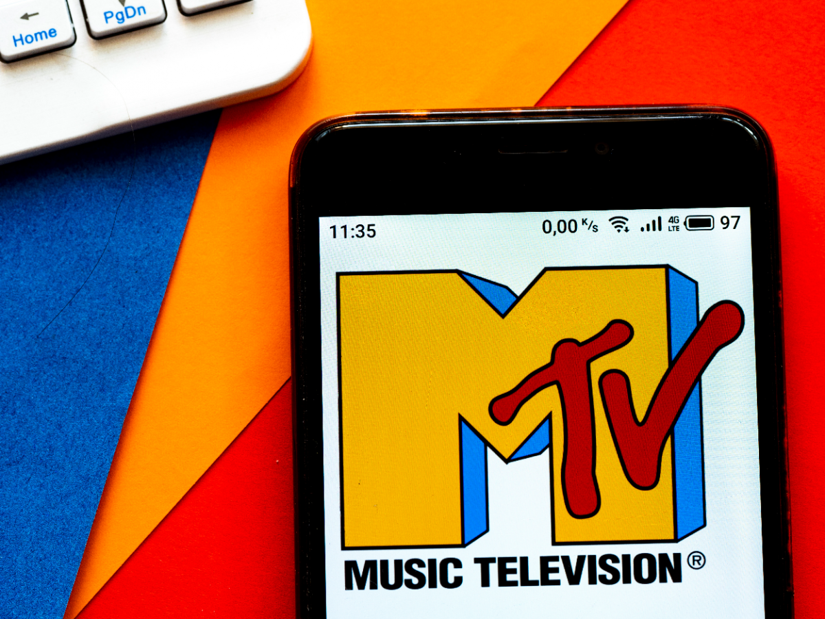 In this photo illustration a MTV (originally an initialism of Music Television) logo seen displayed on a smartphone