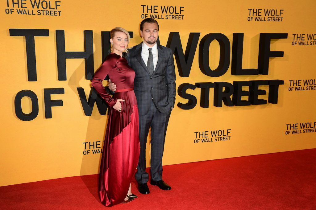 Leonardo DiCaprio and Margot Robbie attend the U.K. premiere of 'The Wolf of Wall Street'