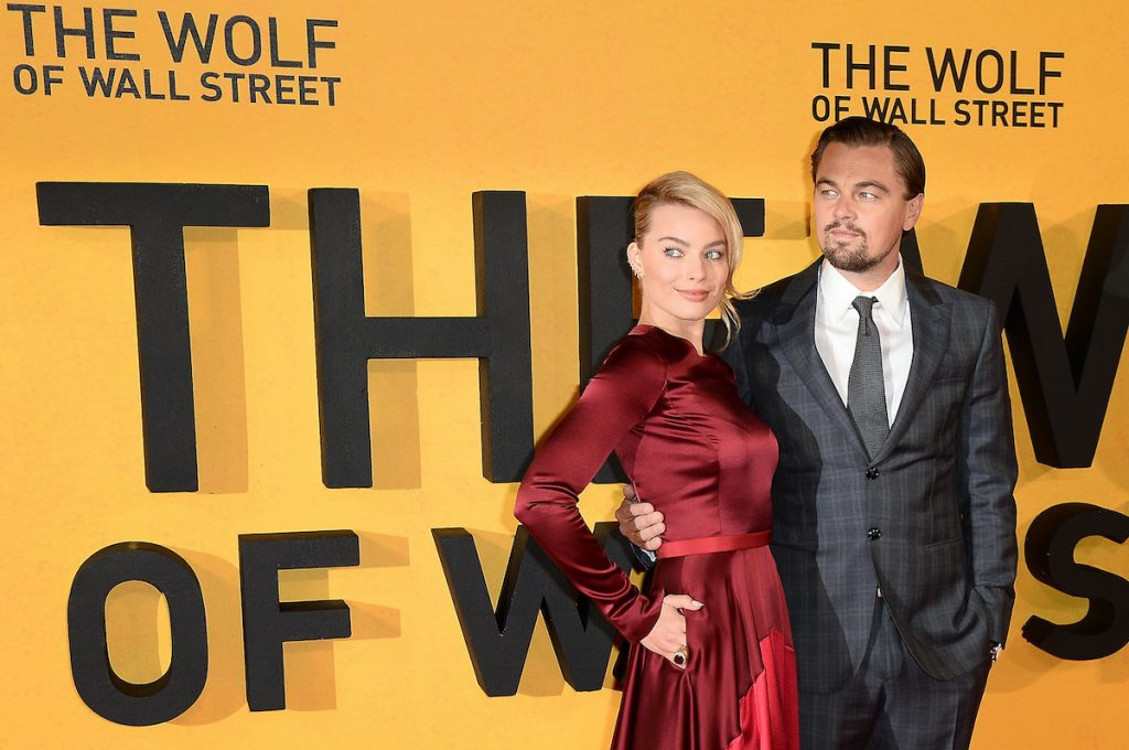 Leonardo DiCaprio and Margot Robbie attend the UK Premiere of The Wolf of Wall Street at London's Leicester Square on January 9, 2014 in London, England.