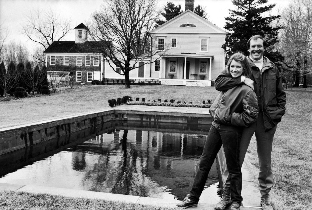 Martha Stewart and husband and publisher Andy Stewart, outside their home
