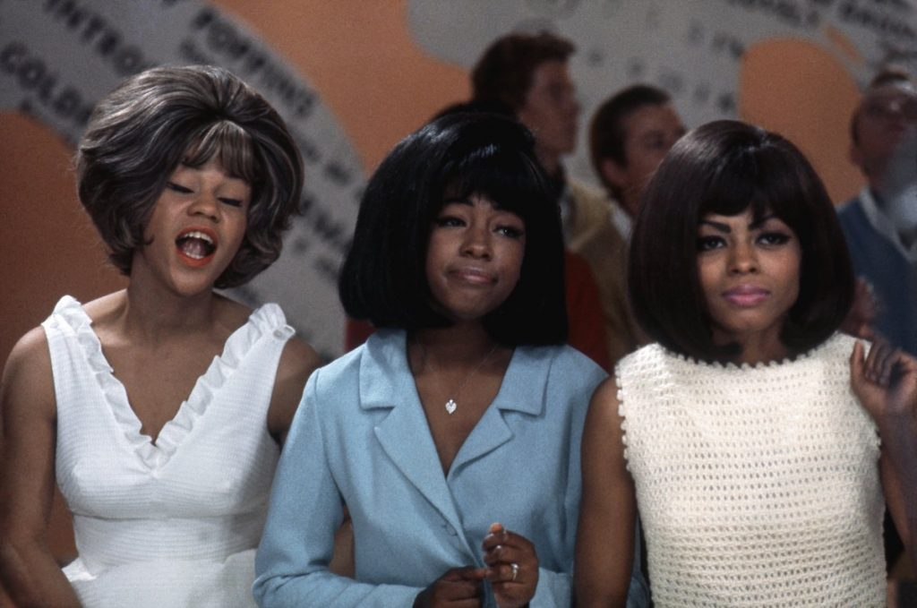 Mary Wilson, Florence Ballard and Diana Ross are together in their iconic hairstyles on television