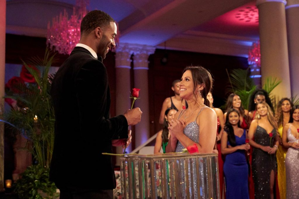 Matt James gives Katie Thurston a rose on 'The Bachelor' at the rose ceremony. Reality Steve changed his lead prediction for 'The Bachelorette.'