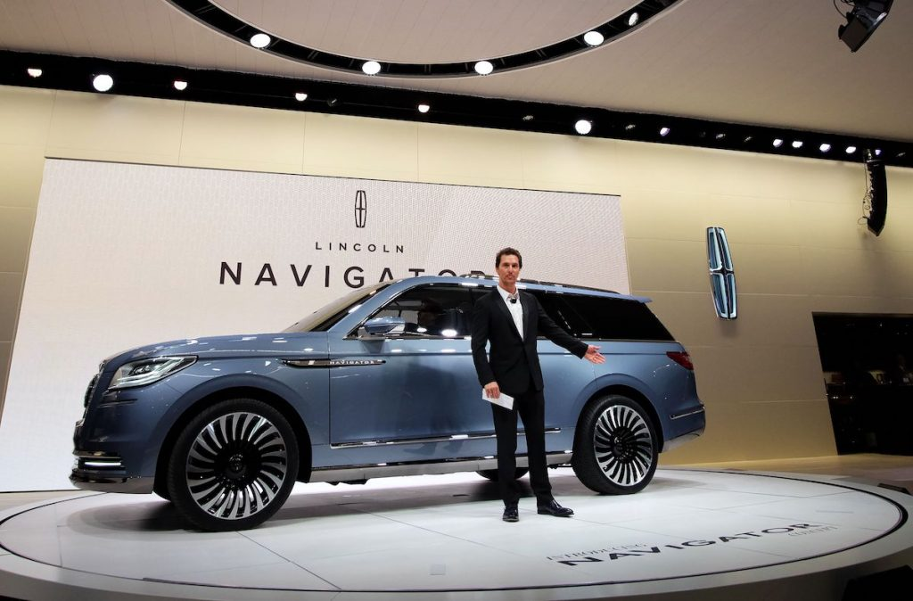 Matthew McConaughey speaks to unveil the Lincoln Navigator concept car during the New York International Auto Show on March 23, 2016.