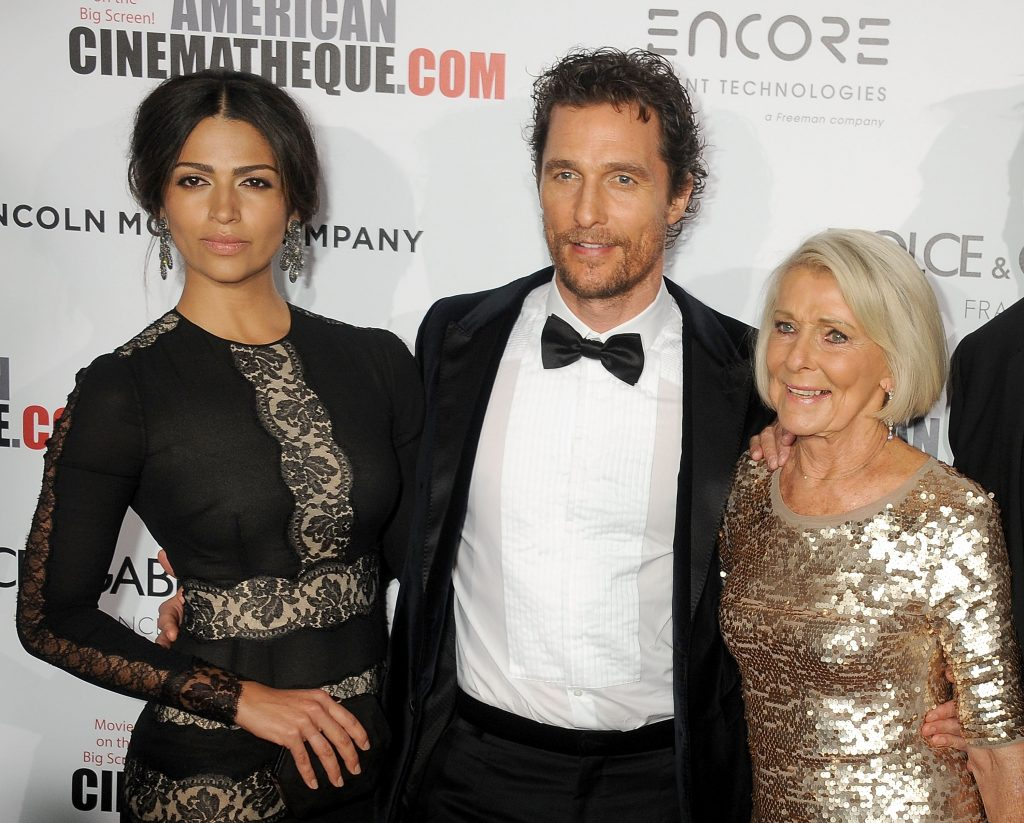 Matthew McConaughey with his mother Kay and wife Camila Alves