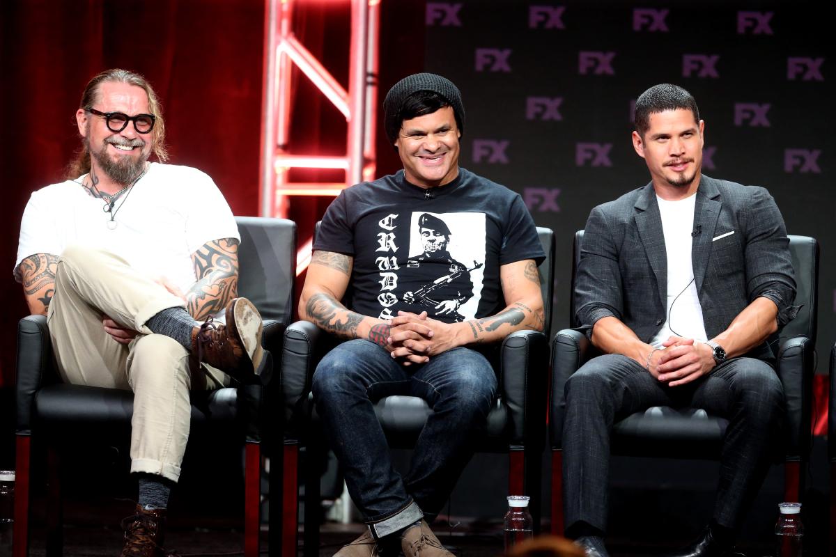 Mayans MC co-creator Kurt Sutter, co-creator Elgin James and star J.D. Pardo in 2018