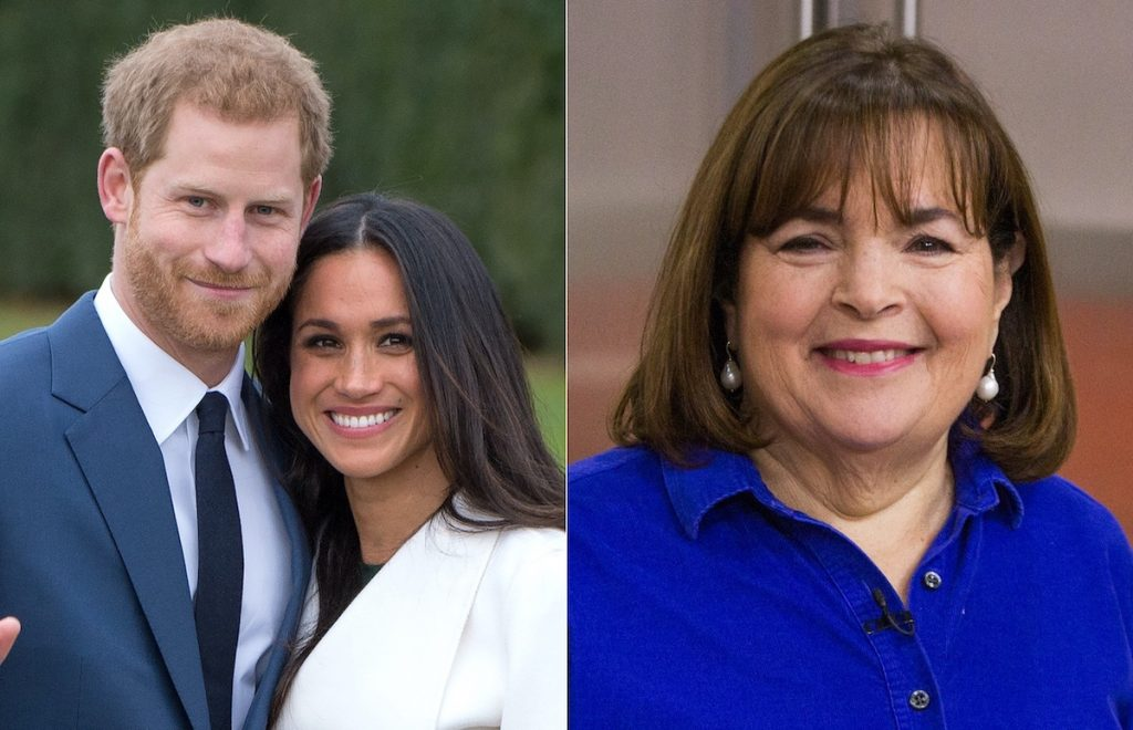 Meghan Markle and Prince Harry smile in a photo opp after announcing their engagement on Nov. 27, 2017 (L), and Ina Garten in a blue top smiling in a kitchen (R)