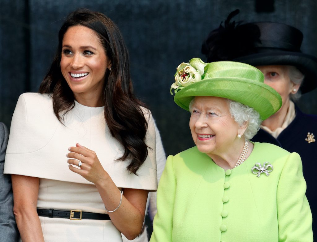 Meghan Markle and Queen Elizabeth smile together