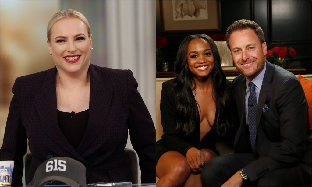 Meghan McCain co-hosting 'The View' and Rachel Lindsay and Chris Harrison smile at the camera before Lindsay appears on 'Jimmy Kimmel Live!'