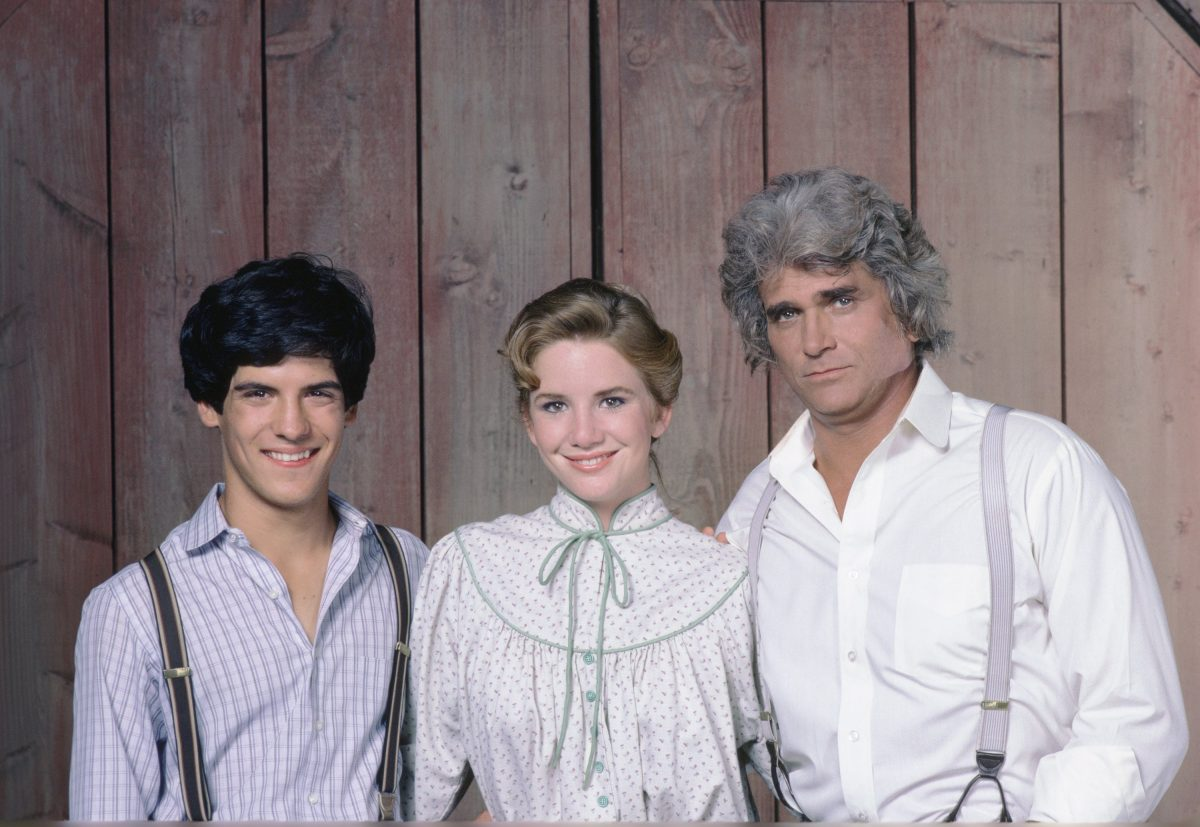 "Matthew Laborteaux as Albert Quinn Ingalls, Melissa Gilbert as Laura Ingalls Wilder, Michael Landon as Charles Philip Ingalls in ""Little House: Look Back to Yesterday"""
