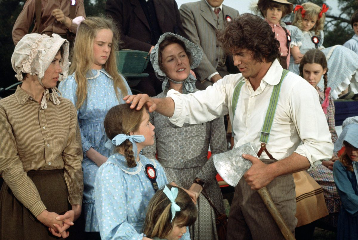 Melissa Sue Anderson as Mary Ingalls, Melissa Gilbert as Laura Ingalls, Karen Grassle as Caroline Ingalls, Michael Landon as Charles Ingalls in 'Founder's Day,' 'Little House on the Prairie'