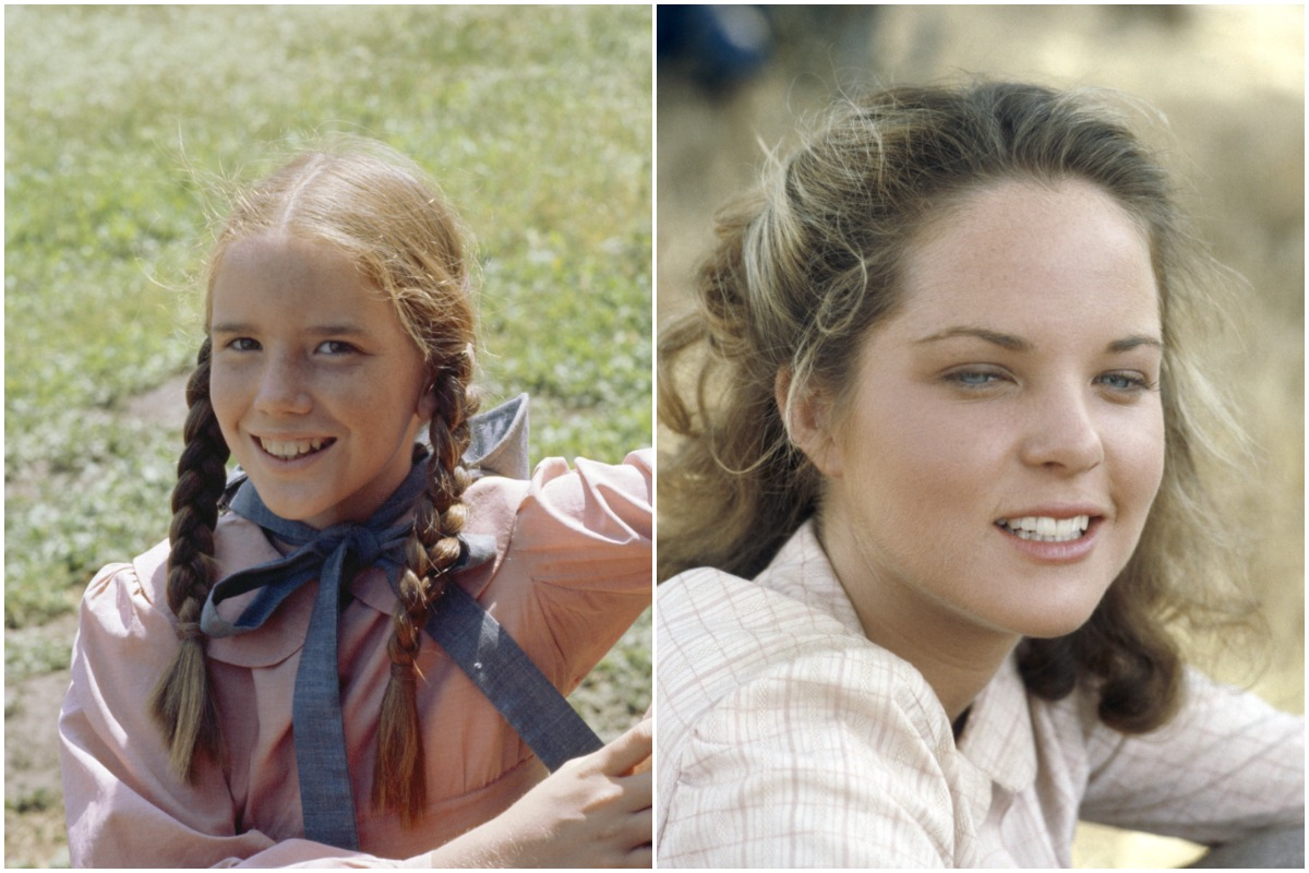 Melissa Gilbert in a pink dress and blue bow with pigtails/Melissa Sue Anderson in a white dress.