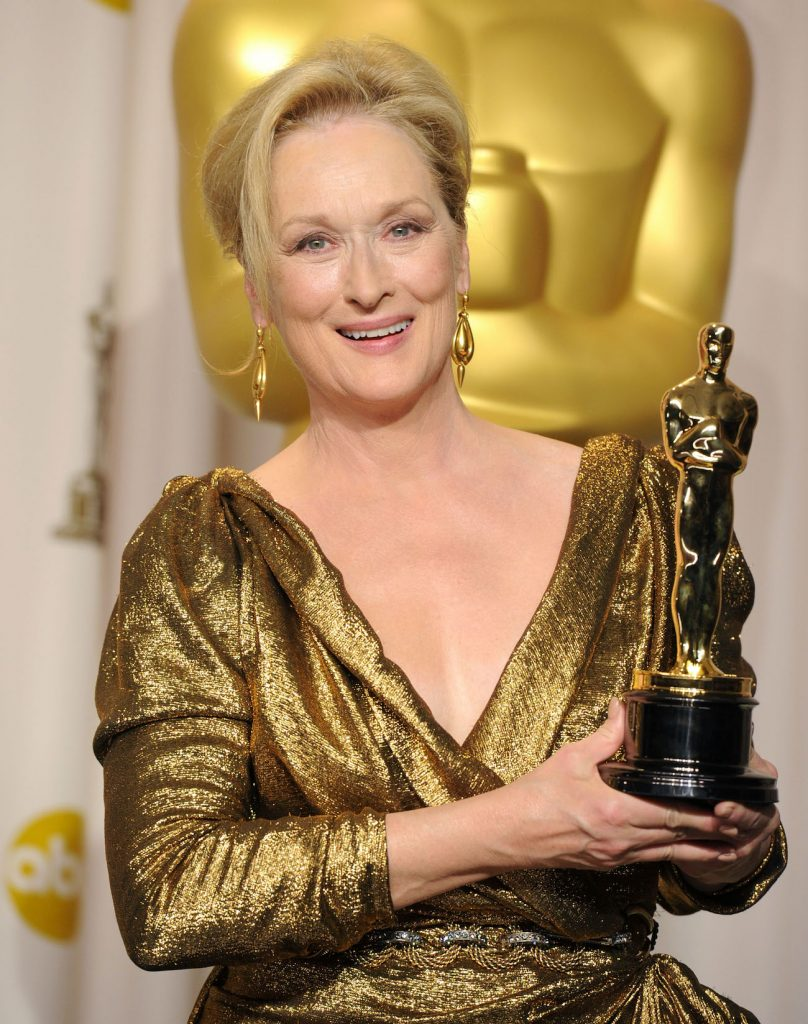 Meryl Streep poses in the press room at the 84th Annual Academy Awards