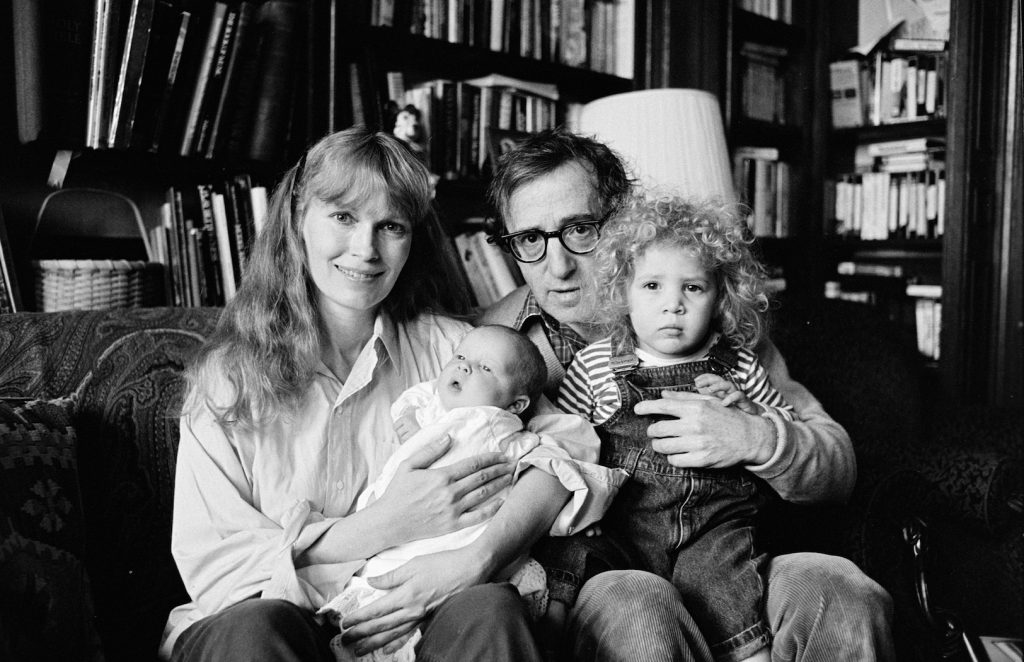 Mia Farrow, Woody Allen, and their children Dylan and Satchel in January 1988