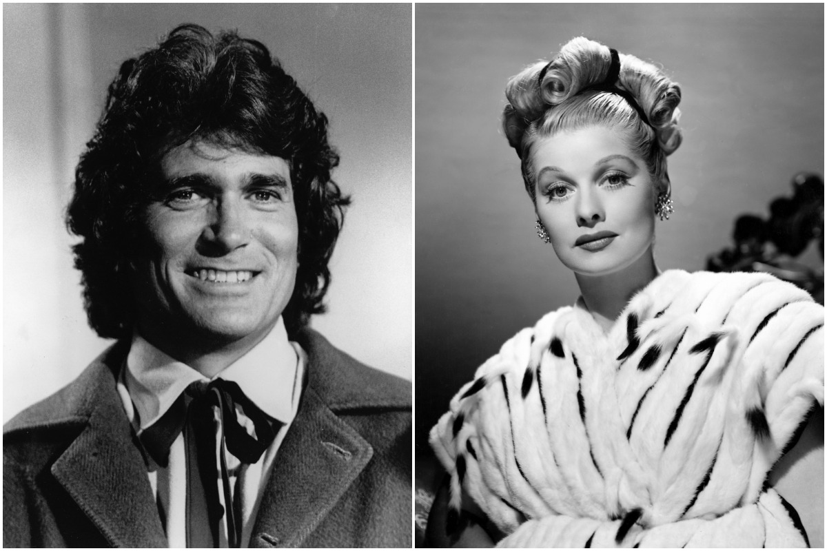 A black-and-white photo of Michael Landon in a suit/ A black-and-white photo of Lucille Ball in a dress.