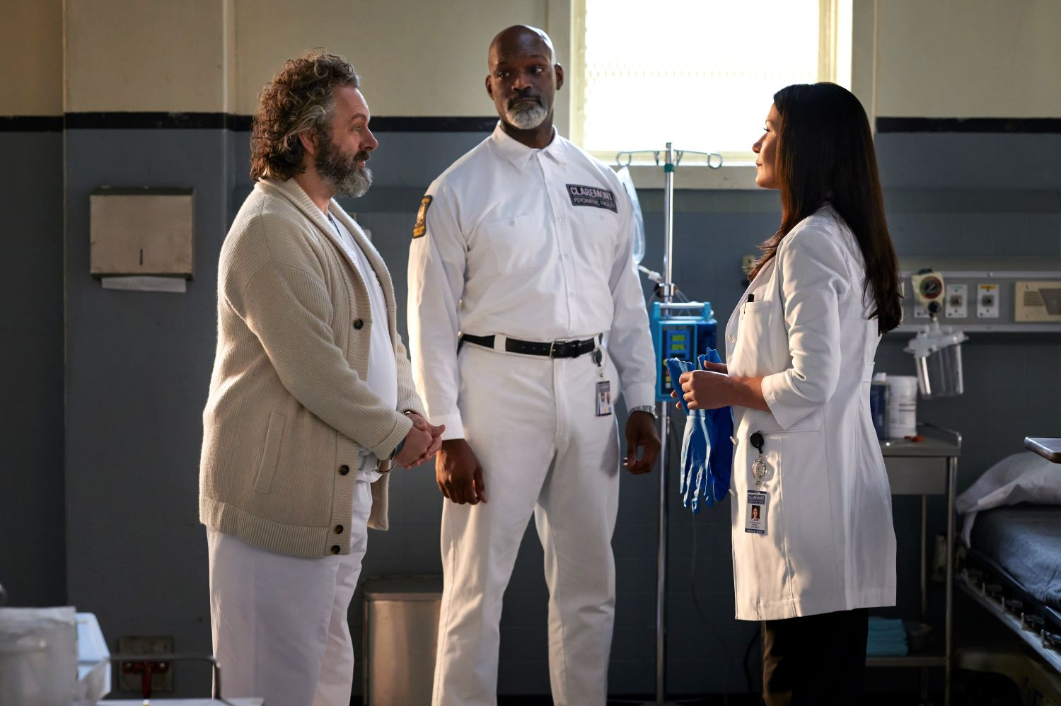 "Michael Sheen, Esau Pritchett and Catherine Zeta Jones in the ""Face Value"" episode of 'Prodigal Son'"
