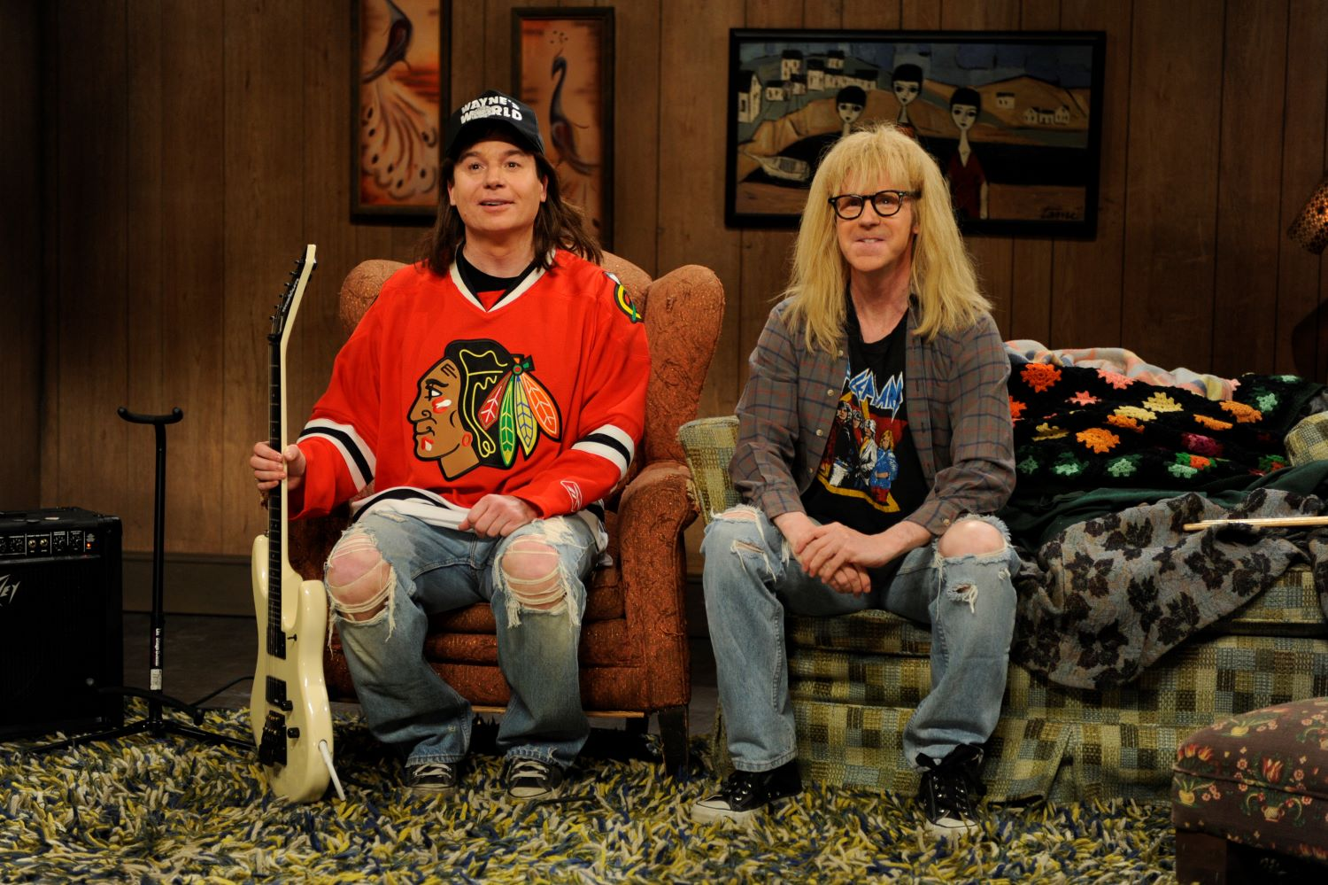 Mike Myers and Dana Carvey in 'Wayne's World' sketch on 'SNL'