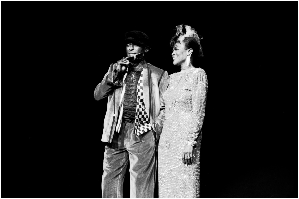 View of married couple, American Jazz musician and composer Miles Davis (1927 - 1991) and actress Cicely Tyson on stage during a tribute to Davis at Radio City Music Hall, New York, New York, November 6, 1983.