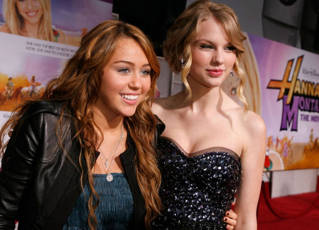 Miley Cyrus and Taylor Swift at the 'Hannah Montana The Movie' premiere in 2009
