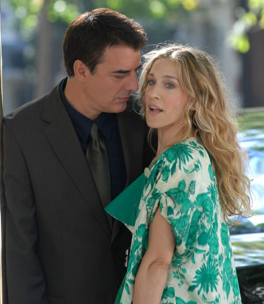 Chris Noth and Sarah Jessica Parker on location for 'Sex and the City: The Movie'