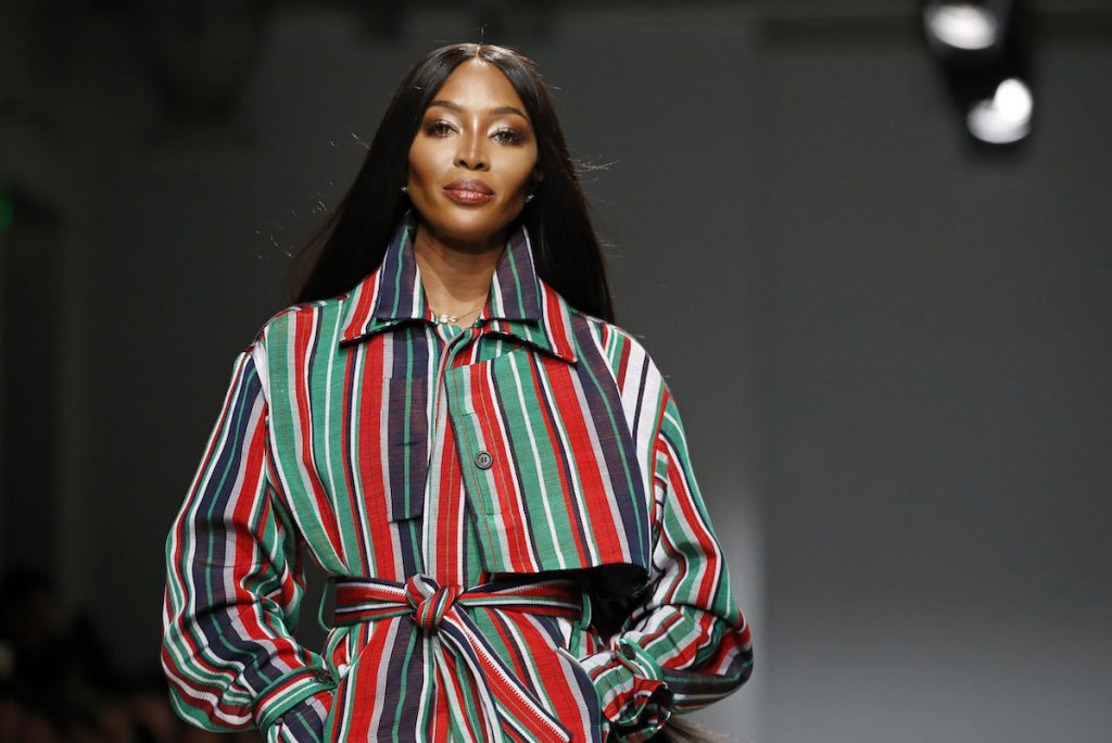 British model Naomi Campbell walks the runway during the Kenneth Ize show as part of the Paris Fashion Week Womenswear Fall/Winter 2020/2021 on February 24, 2020 in Paris, France | Thierry Chesnot/Getty Images