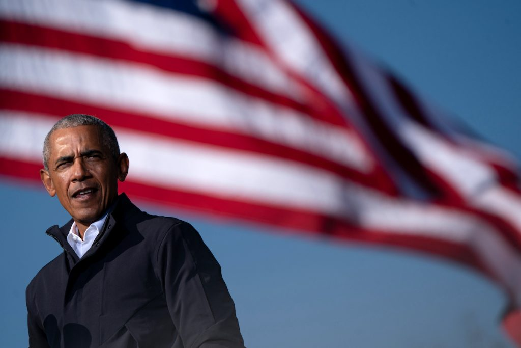 Former US President Barack Obama speaks at a Get Out the Vote rally as he campaigns for Democratic presidential candidate former Vice President Joe Biden in Atlanta, Georgia on November 2, 2020   Elijah Nouvelage/AFP via Getty Images