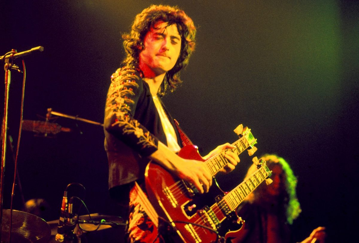 Jimmy Page playing double-neck guitar he had built to perform 'Stairway to Heaven' live
