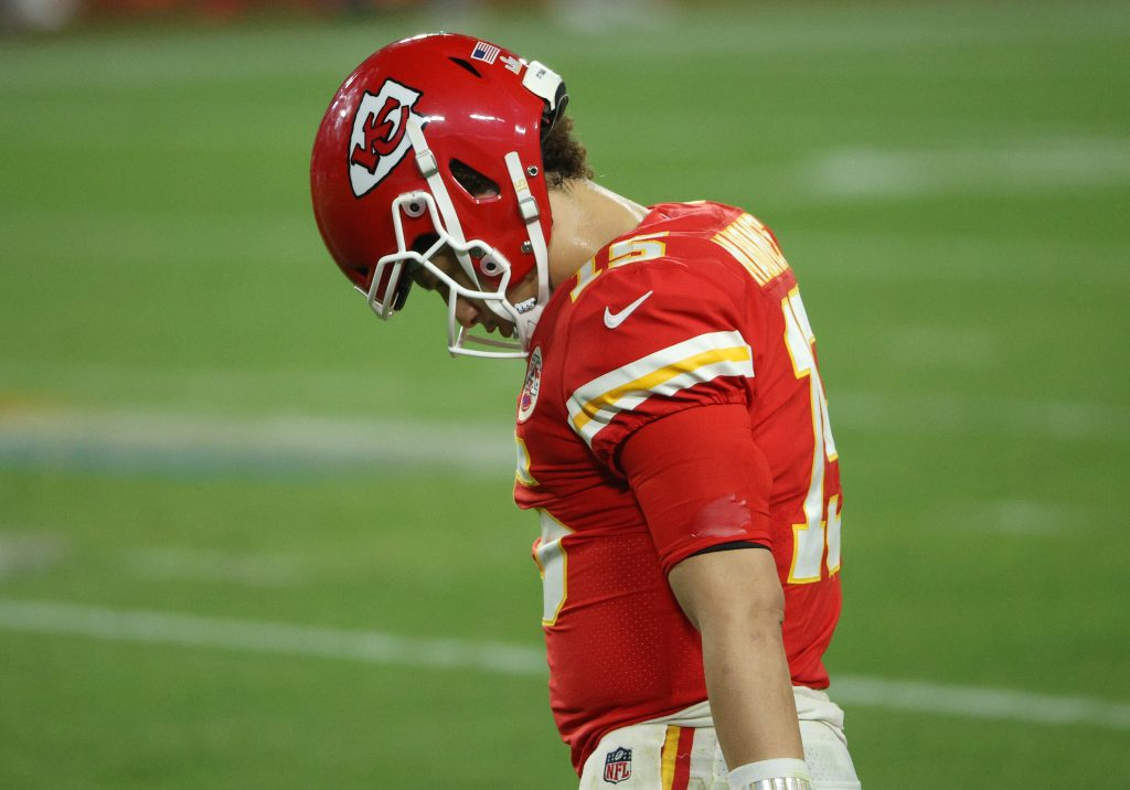 Patrick Mahomes walks with his head down in Super Bowl 55