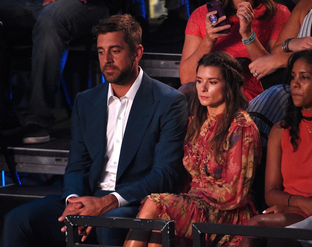 Aaron Rodgers and Danica Patrick attend the Nickelodeon Kids' Choice Sports Awards in 2018