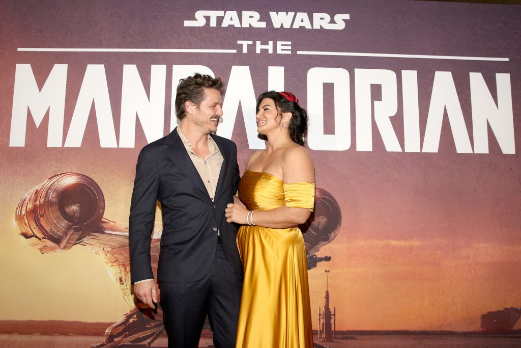 Pedro Pascal and Gina Carano arrive at the premiere of Lucasfilm's 'The Mandalorian'