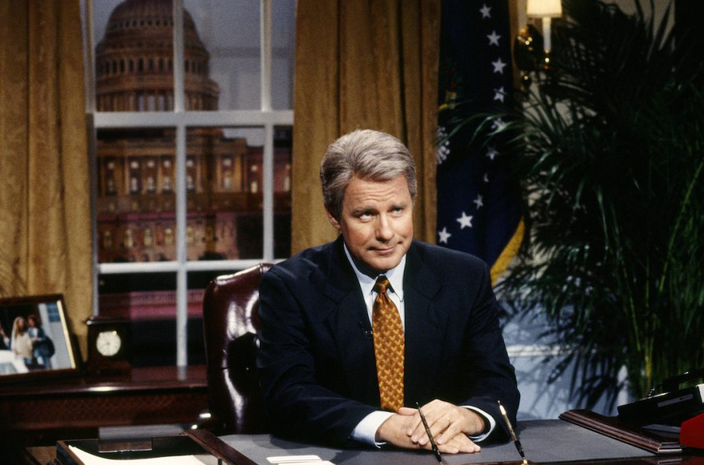"""Phil Hartman as President Bill Clinton during the """"Clinton's Health Care Plan"""" skit on September 25, 1993"""