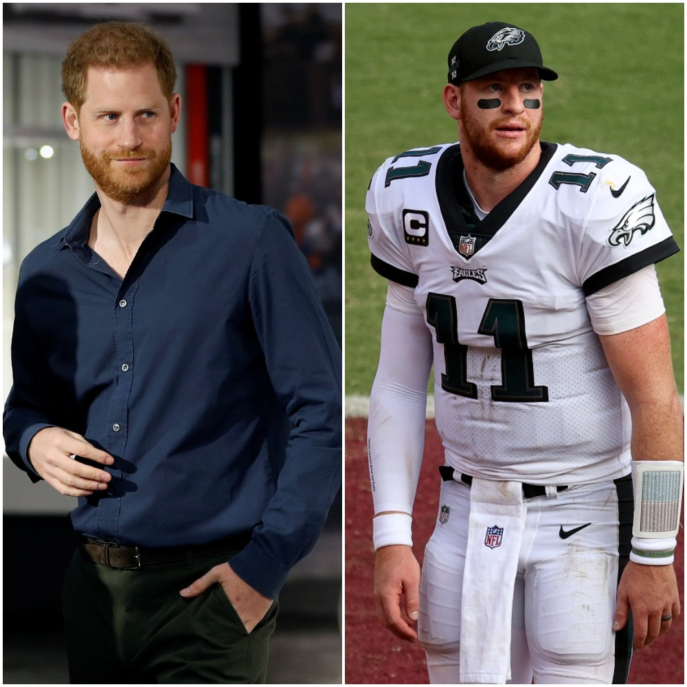 (L) Prince Harry attends an exhibition in England (R) Carson Wentz on the field