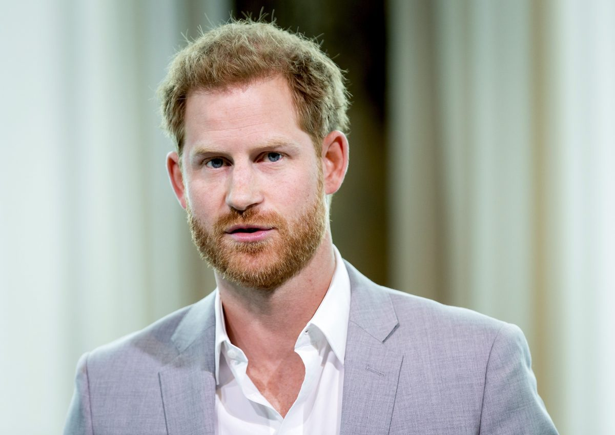Prince Harry in a gray suit