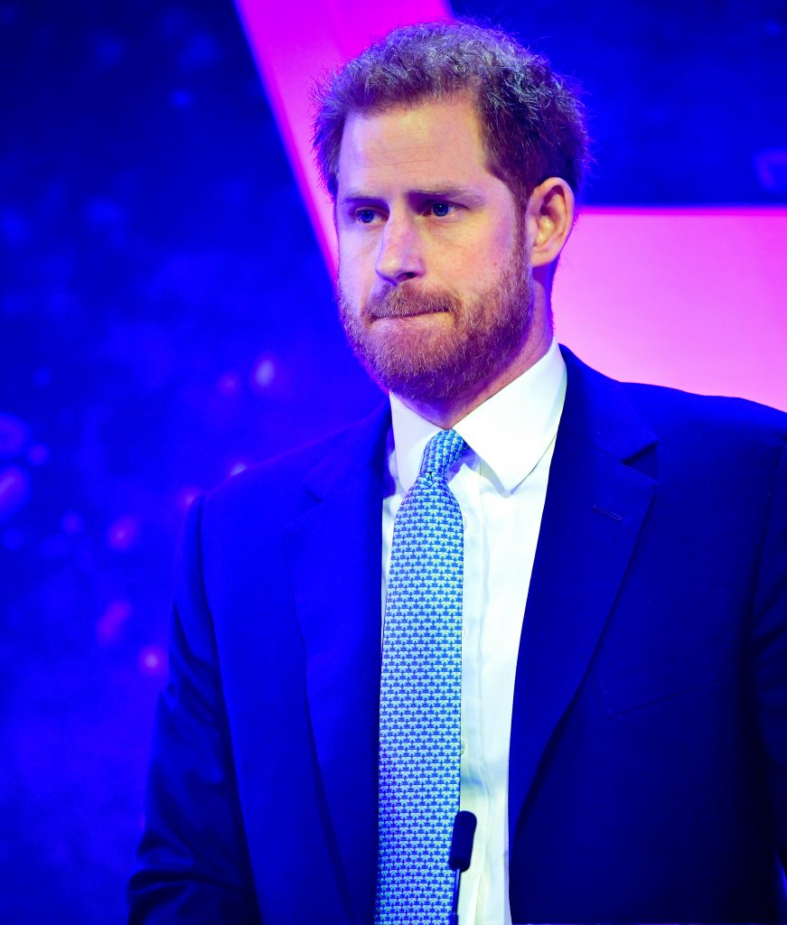 Prince Harry, Duke of Sussex reacts as he delivers a speech during the WellChild Awards at Royal Lancaster Hotel