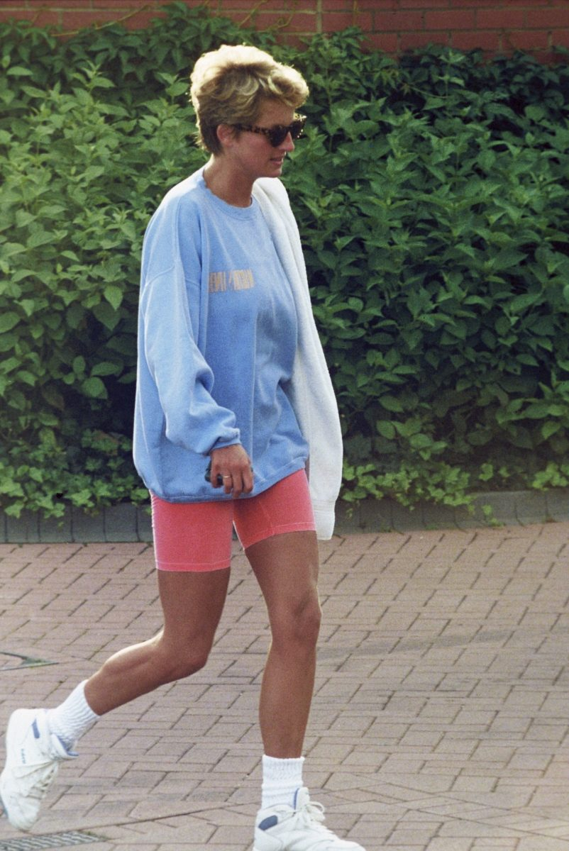 Princess Diana leaves Chelsea Harbor wearing a sweatshirt and shorts